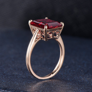 Image 5 - Kuololit 7.4ct 10K Solid Gold customize Lab Grown Ruby Ring for Women 10x12mm Ruby Rose gold Rings Engagement bride Fine Jewelry