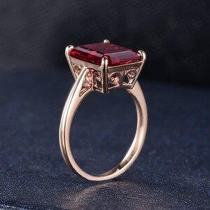 Image 5 - Kuololit 7.4ct 10k sólido ouro personalizar laboratório crescido rubi anel para mulher 10x12mm rubi rosa anéis de ouro noivado noiva jóias finas