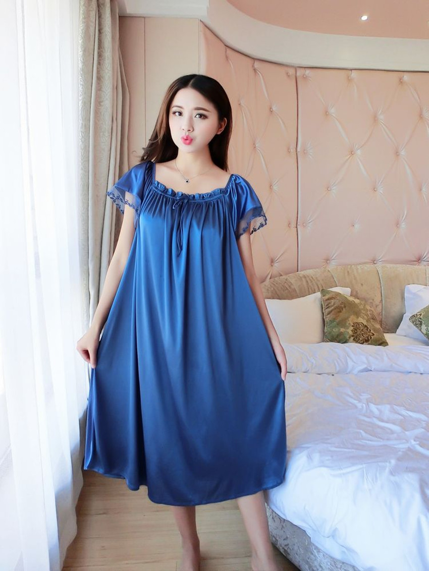 Lady Summer Plus Size 5XL New Sexy Silk Nightgowns Women Casual Chemise Nightie Nightwear Lingerie Nightdress Sleepwear Dress