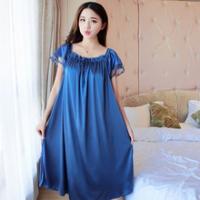 Lady Summer Plus Size 5XL New Sexy Silk Nightgowns Women Casual Chemise Nightie
