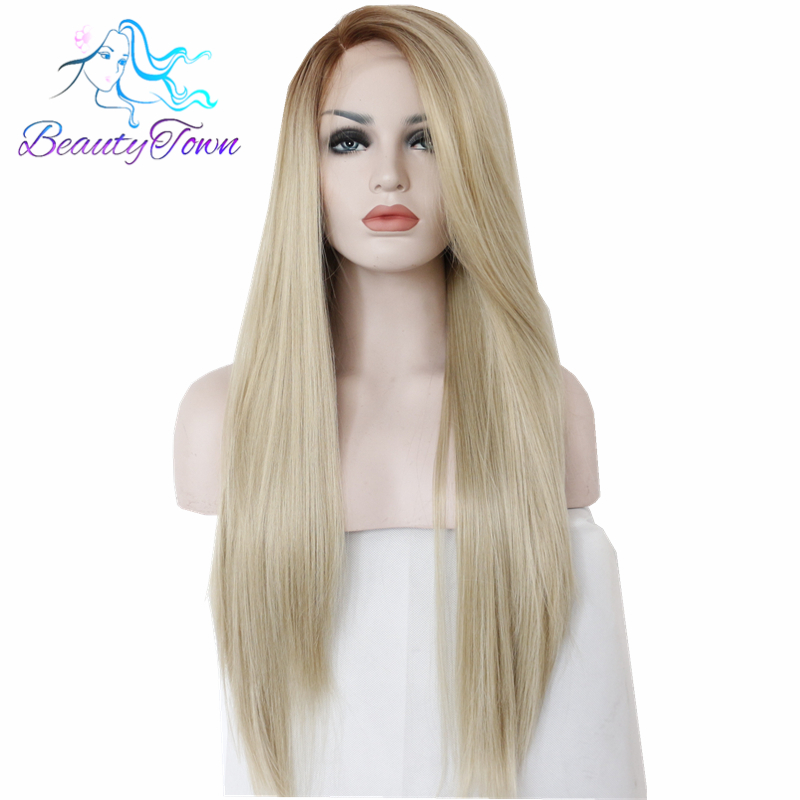 BeautyTown Straight Type Heat Resistant Hair 150 Density Cosplay Hand Tied Masquerade Daily Makeup Synthetic Lace