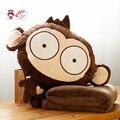 Candice guo! Super bonito brinquedo de pelúcia do macaco engraçado expressões almofada mão mais quente cobertor de presente de aniversário 1 pc