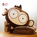 Candice guo! Super cute plush toy monkey funny expressions cushion hand warmer blanket birthday gift 1pc