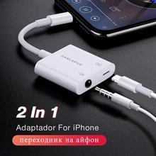 2 In 1 Adapter Voor Bliksem Naar 3.5 Mm Koptelefoon Jack Koptelefoon Aux Splitter Voor Iphone 7 8 Plus Xs max Xr Cargador Y Audio