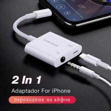 2 em 1 adaptador para relâmpago para 3.5mm fones de ouvido jack fone de ouvido divisor aux para iphone 7 8 plus xs max xr cargador y áudio