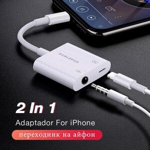 Image 1 - 2 em 1 adaptador para relâmpago para 3.5mm fones de ouvido jack fone de ouvido divisor aux para iphone 7 8 plus xs max xr cargador y áudio