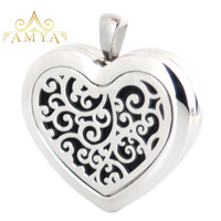 Silver Jewelry 30mm Heart tree of life Aromatherapy Essential Oils Stainless Steel Perfume Diffuser Locket Necklace with chain