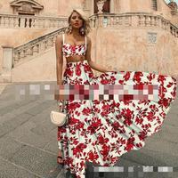 Women Set Croptop Skirt Set Women High Waist Long Print Skirt sests Sexy Two Piece Set Top Skirt Summer New 2pices Suit