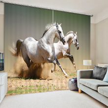 цена на New Cafe Hotel 3D Blackout Curtains Panel White Running Horse Pattern Thickened Fabric Children Bedroom Curtains for Living Room