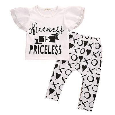 Toddler Infant Kids Baby Girls Clothes Set Fly Sleeve T Shirt Xo