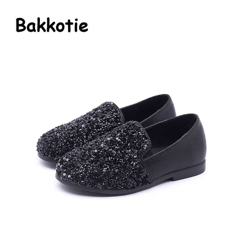 3eafb5f1a9dc ... Bakkotie 2018 New Autumn Fashion Baby Girl Glitter Flats Children Black Shoes  Kid Brand Leisure Shoes ...