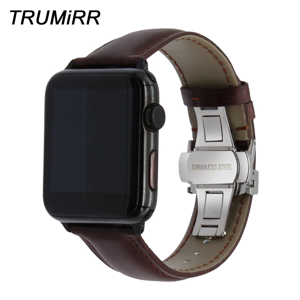 Italy Genuine Leather Watchband for iWatch Apple Watch 38mm 40mm 42mm 44mm Series 1 2 3 4 Butterfly Clasp Band Crazy Horse Strap цена