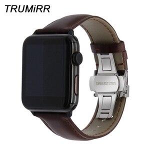 Image 1 - איטליה אמיתי עור רצועת השעון עבור iWatch אפל שעון 38mm 40mm 42mm 44mm סדרת 5 4 3 2 פרפר אבזם להקת מטורף סוס רצועה