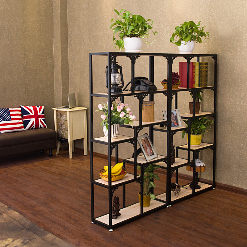 Iron off the living room wood bookcase shelves display for Off the shelf cabinets