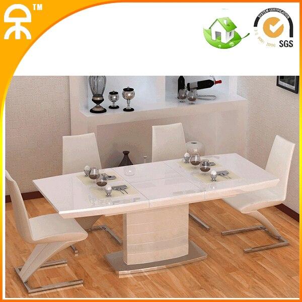 1 MESA + 6 silla) 1.3 m alto brillo moderno pintura mesa de comedor ...