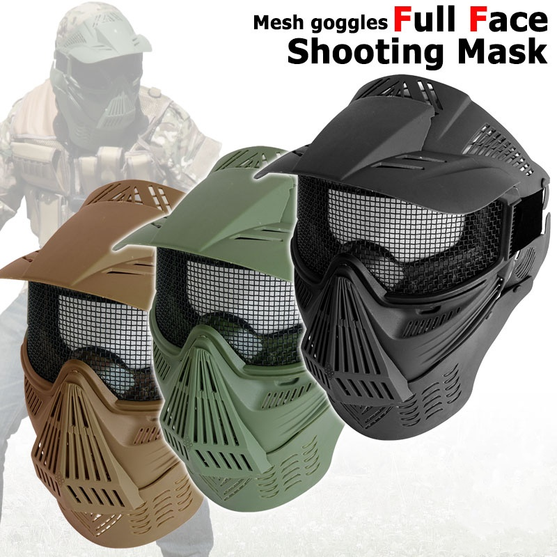 Tactical Airsoft Full Face Metal Mesh Goggle Mask With Neck Protection Outdoor CS Wargame Shooting Hunting Paintball Accessories