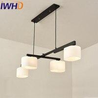 IWHD Glass LED Pendant Light Fixtures Black White Iron Modern Pendant Lights Nordic Style Rotatabl Lampara
