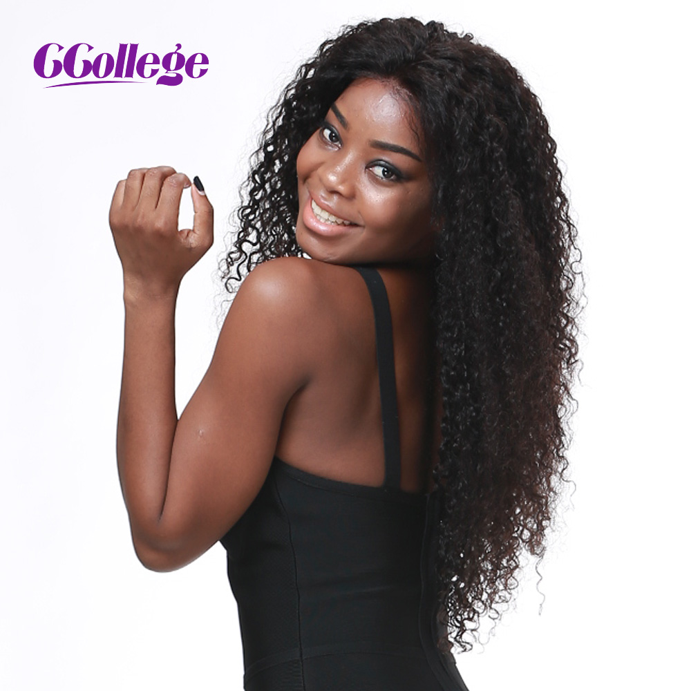 CCollege Human Hair Lace Front Wigs Kinky Curly Brazilian