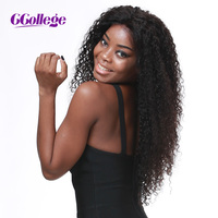 CCollege Human Hair Lace Front Wigs Kinky Curly Brazilian Remy Hair Natural Color Wigs For Black Women With Baby Hair