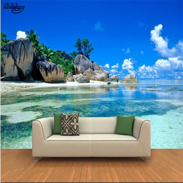 Wallpaper Hd For Living Room Beibehang Large Custom Wallpapers 3d Hd Seaview Rocks