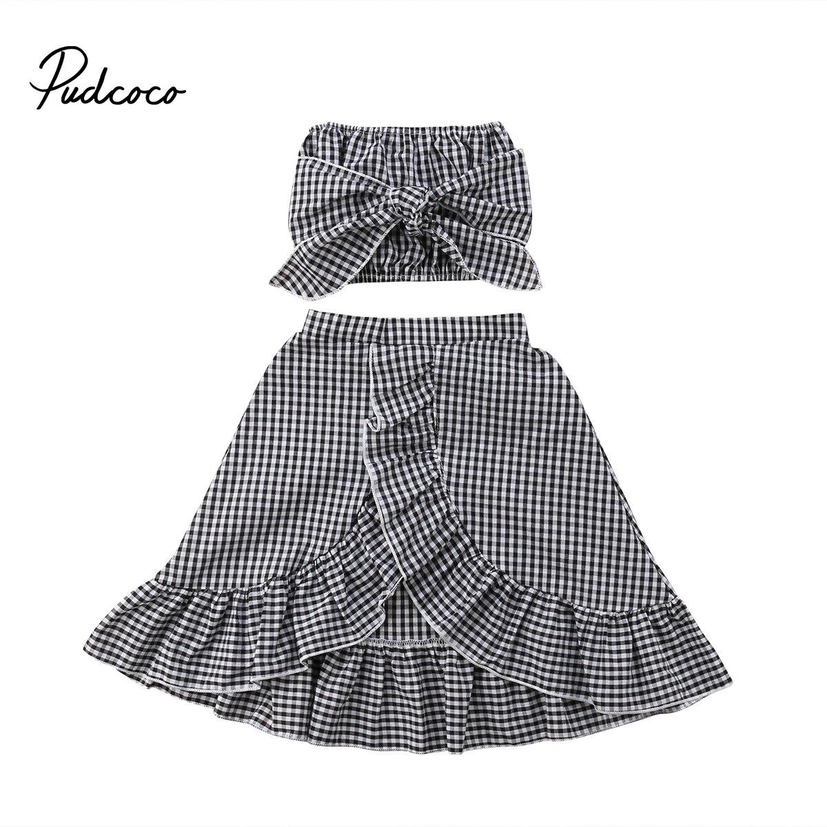 Pudcoco Toddler Baby Girls Summer Clothing Set Off Shoulder Crop Tops+Ruffle Skirt Dress Sundress Kids Children Plaid Boutique