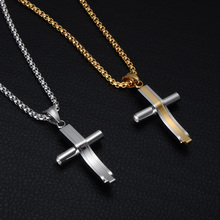 Christian JewelryTwo Tone Cross Necklace Stainless Steel Crucifix