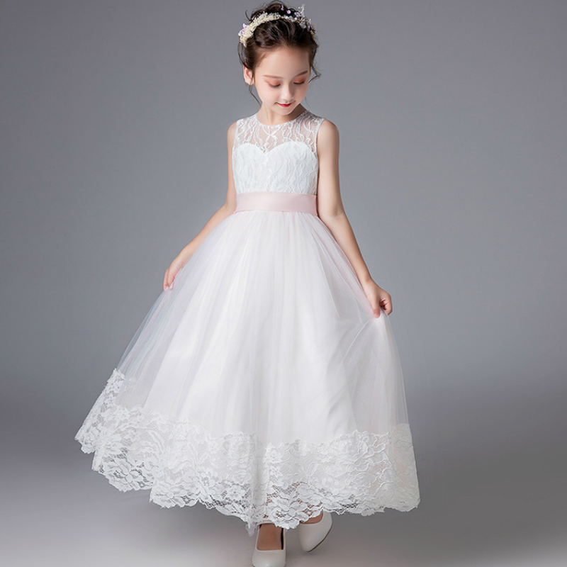 POSH DREAM White Lace Flower Girls Wedding Dresses for Party Pink Belt White Baby Girls Baptism Tutu Dress Kids Birthday Clothes new 2018 flower girl party dress baby birthday tutu dresses for girls lace baby vest baptism dresses pearls kids wedding dress