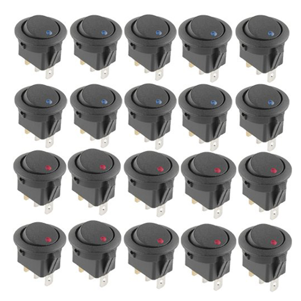 20 Pcs 12V 20A Amps On/Off/ 3 Position Terminal Round Rocker LED Toggle Switch Blue & Red 20 pcs 12v 20a amps on off 3 position terminal round rocker led toggle switch blue