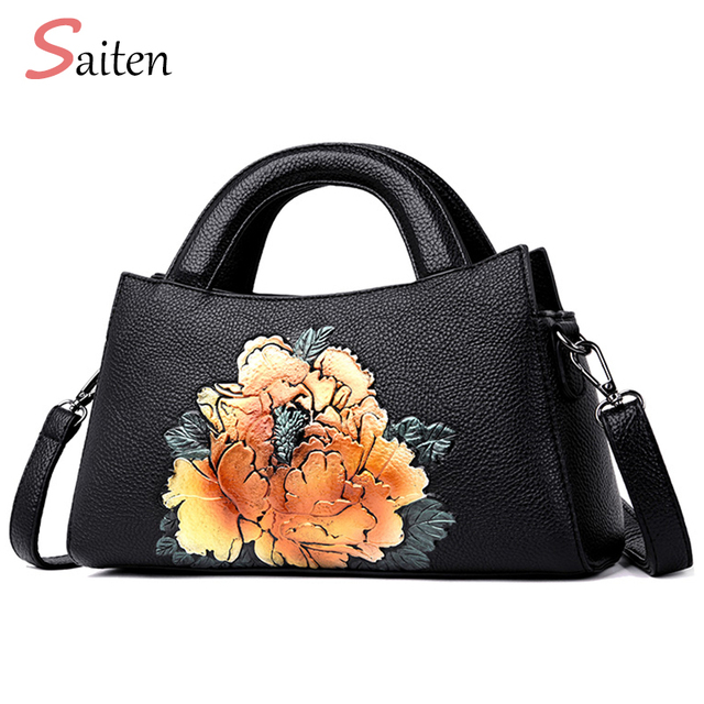 7065fec64a2 Luxury Handbag Women Bags Designer PU Leather Bags Girl Fashion Designer  Shoulder Bag Black Four Flowers High Quality Handbags-in Shoulder Bags from  ...