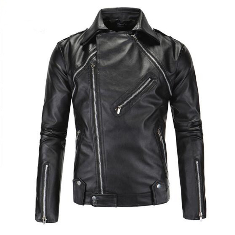 2018 Masculina Men PU Leather Motorcycle Jackets Men Fashion Jacket Men Coats Men Leather Jacket High Quality