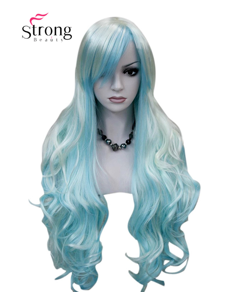 StrongBeauty Women's Wigs Long Curly White Blue Cosplay ...
