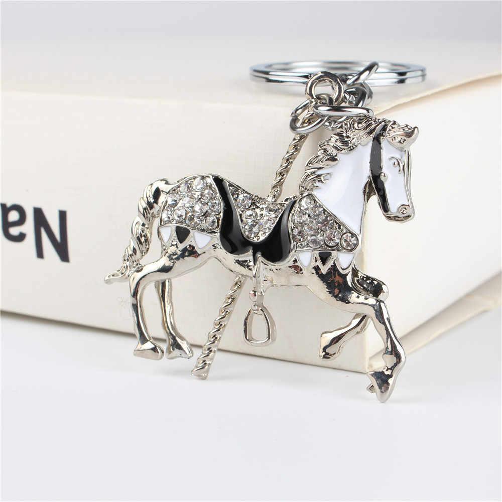 Caballo Trojan colgante encanto diamantes de imitación cristal bolso llavero accesorios boda fiesta soporte llavero regalo