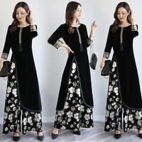 Spring Autumn India Pakistan Women Clothing New Design Europe Style Fashion 2 Pieces Sets Vintage Pattern