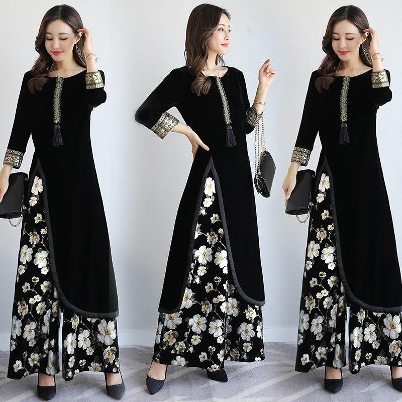 Spring autumn india Pakistan Women Clothing New design Europe style Fashion 2 pieces sets vintage pattern elegant costume