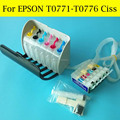 1 комплект T077 СНПЧ система для Epson T0771-T0776 T0771 T0776 для Epson RX580 RX595 RX680 RX595 R280 принтер с чипами ARC