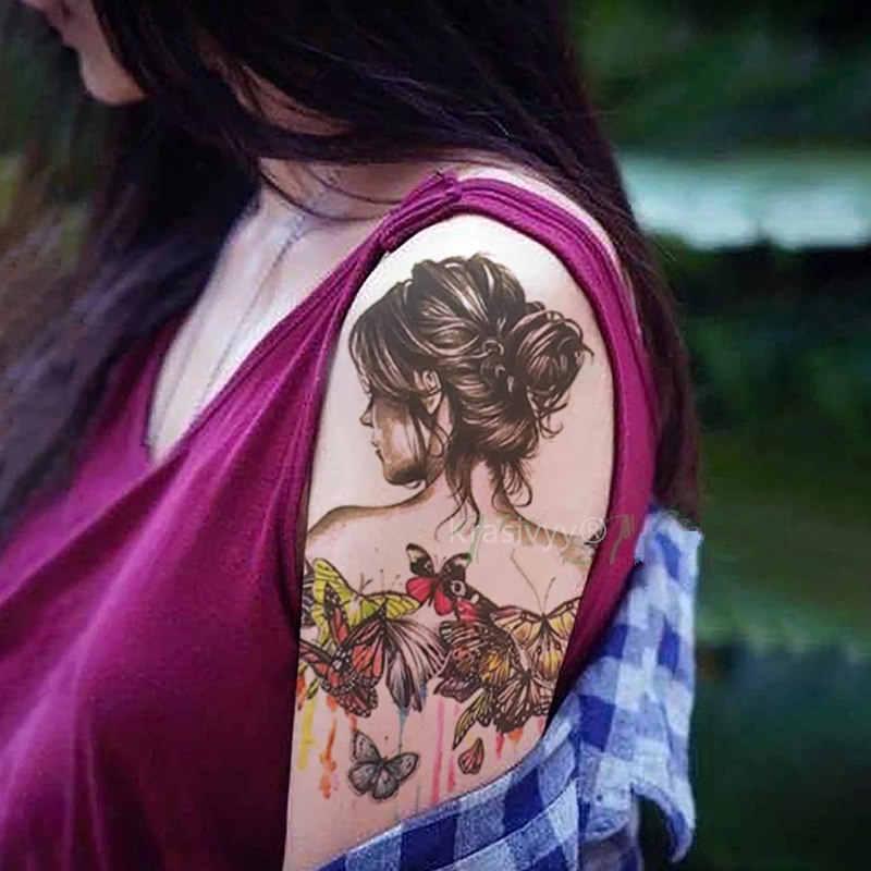 2018 New Fashion Body Art Butterfly Girl 21 X 15 Cm Sexy Cool Beauty Tattoo Waterproof Hot Sale Temporary Tattoo Girls Stickers Body Art Temporary Tattoo Girltattoo Waterproof Aliexpress