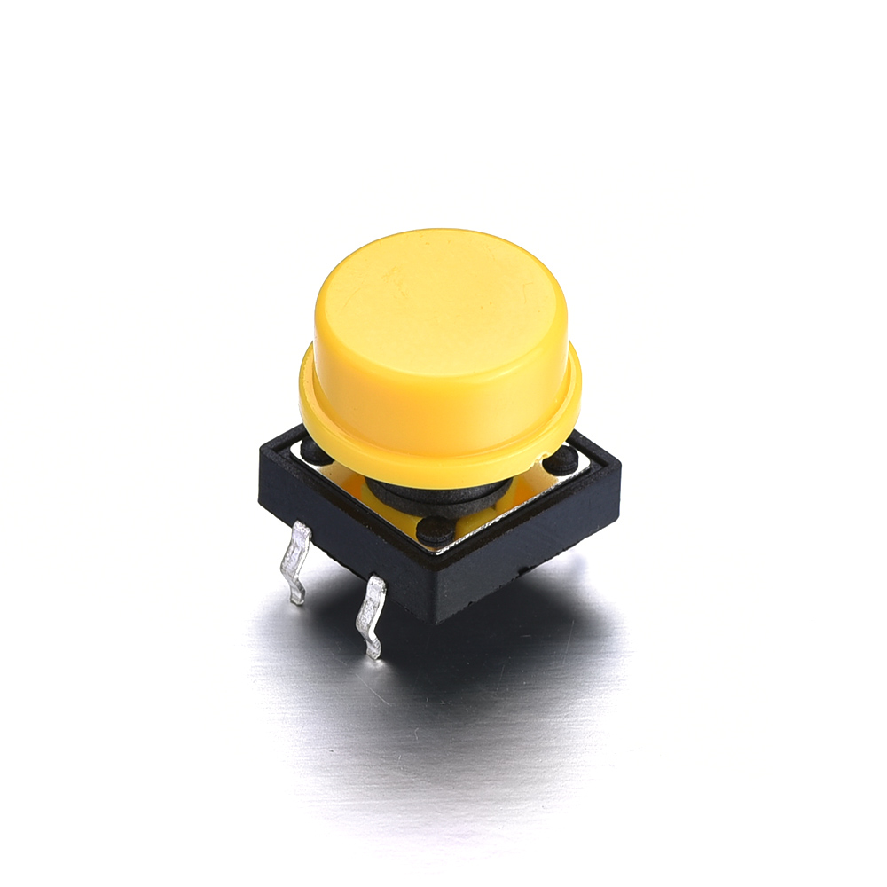 Hot Sale 10/50Pcs DC 12V 0.1A 4PIN Push Button Switch with red/yellow cap DIP 12X12X15mm Momentary Tactile Push Button Switches