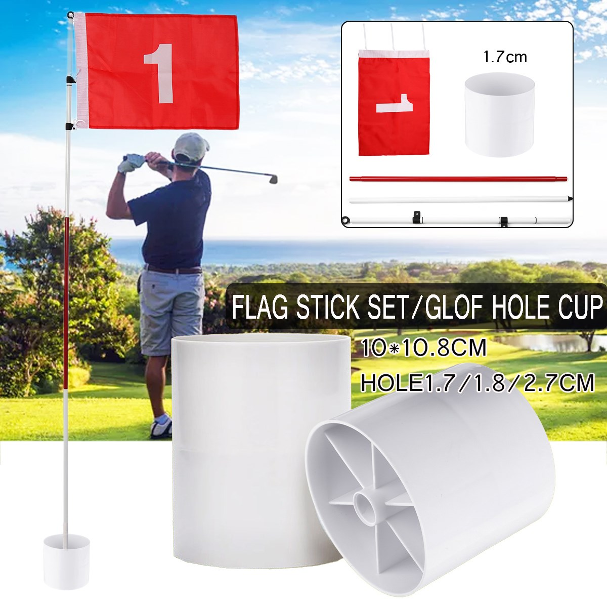 Flag Stick Set /1PC Glof Hole Cup White Plastic Professional Backyard Practice Golf Flag Stick Putting Green Hole Pole Cup