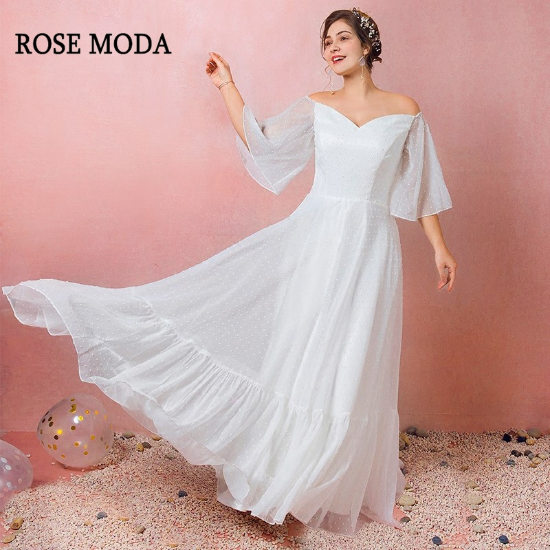 US $146.52 26% OFF|Rose Moda Sweet Plus Size Wedding Dress 2019 with  Sleeves Boho Plus Size Wedding Gowns Reception Dresses Real Photos-in  Wedding ...