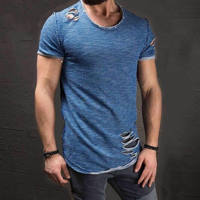 Fashion Summer Ripped Clothes Men Tee Hole Solid T-Shirt Slim Fit O Neck Short Sleeve Muscle Casual Tops T Shirts