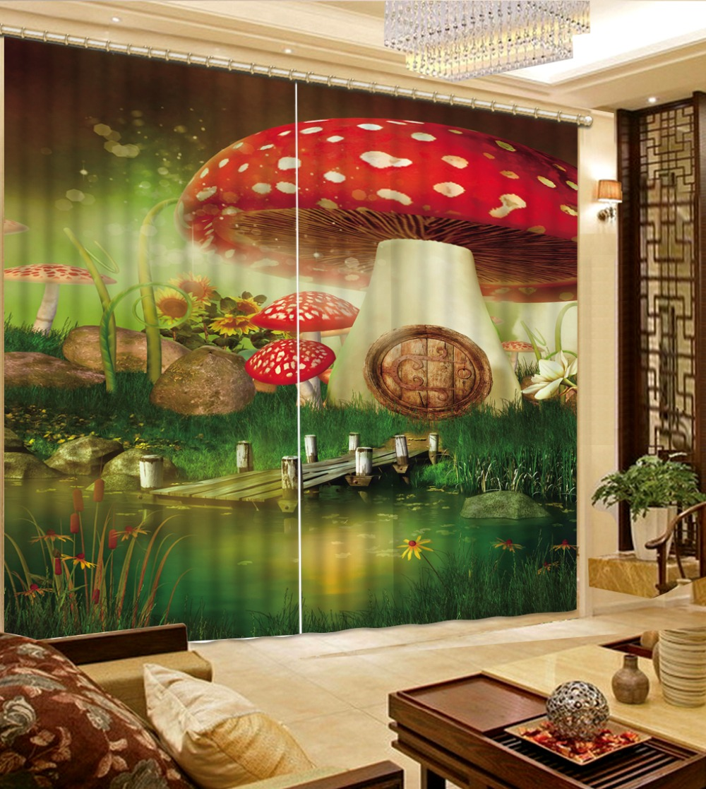 Blackout 3D Curtains Creative mushroom 3D Children Curtains For Window Photo Printing Bedroom 3D Drapes