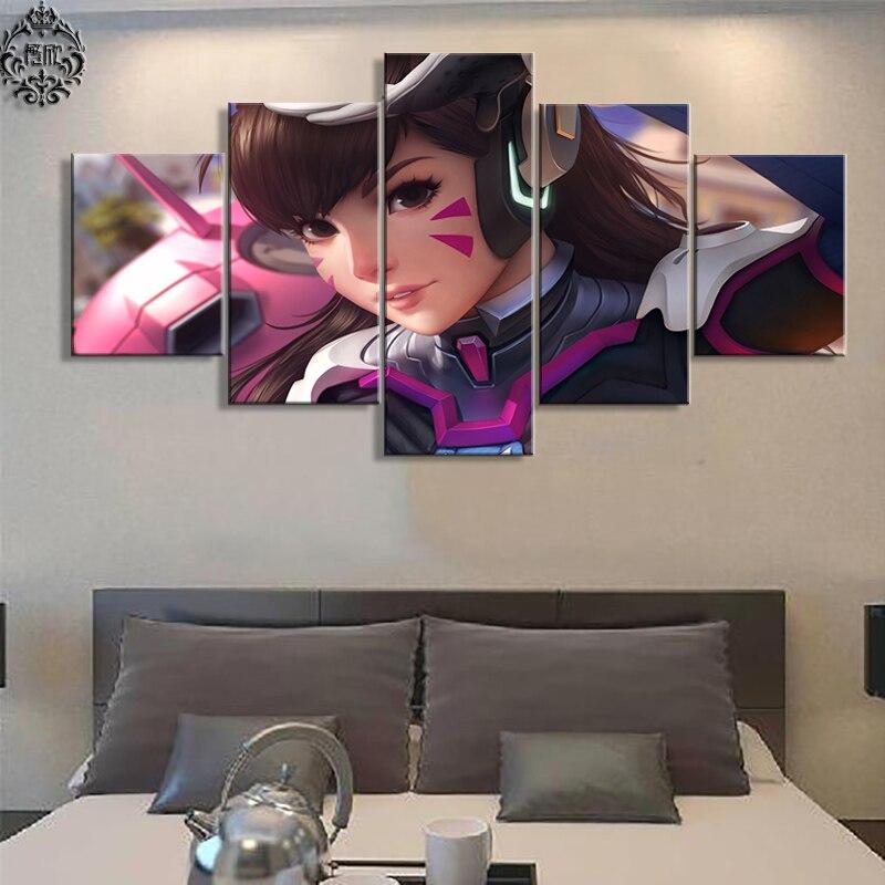 Nástěnná umělecká hra Plakát 5 kusů Overwatch D.VA Tištěné Obrazy na plátně Moderní malba na plátně Dekorace Cuadros Rám