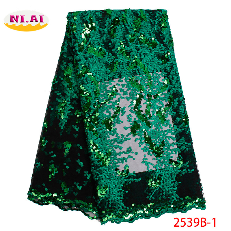Green French Lace Fabric Lace Fabric Indian Fabric Embroidered Sequin Africa Fabic Lace 2019 MR2539B