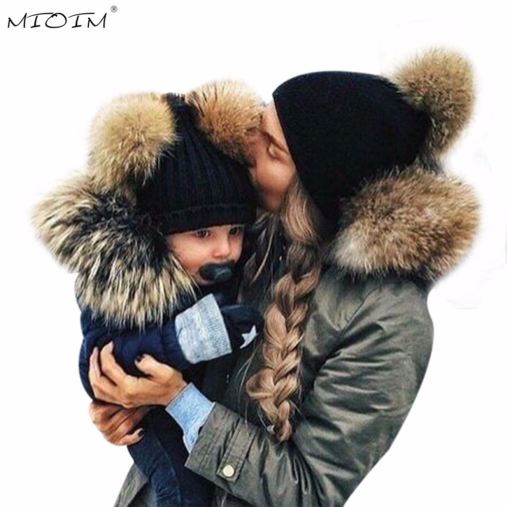 Mioim Winter Mom Amp Baby Hats Faux Fur Ball Cap Baby Boy