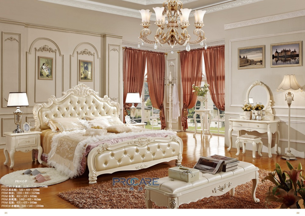 European Luxury Bed Set Furniture Solid Wood Hand Carved Bedroom Sets From Foshan Shunde Market With Dressing Table 905