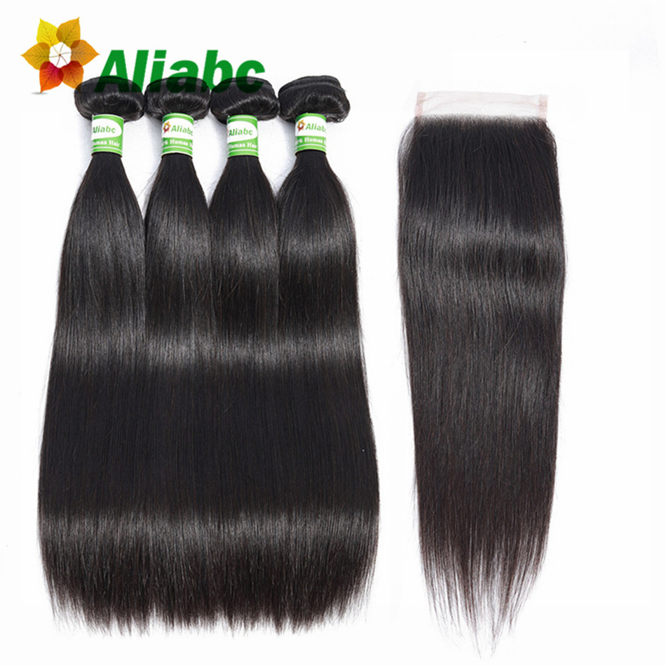 AliabcHair Brazilian Straight Hair 4 Bundles With Closure Human Hair Bundles With Closure Natural Color Non