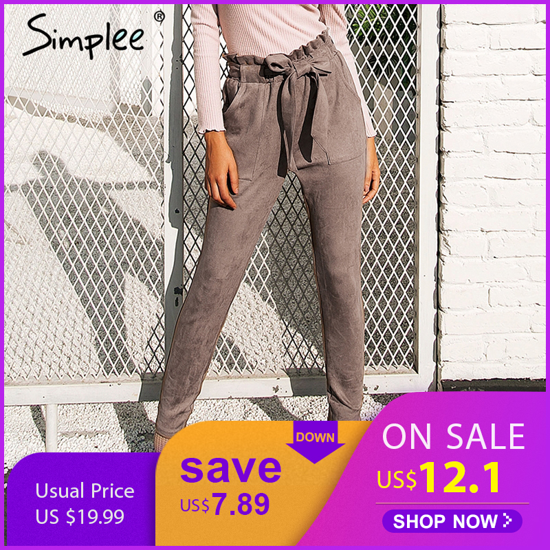Simplee de lápiz de cintura alta pantalones capris Fondo faja streetwear pantalones casuales pantalones de otoño de 2017 negro elegante pantalones de invierno