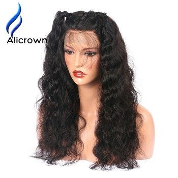 Alicrown волна воды кружева спереди человеческих волос парики для черные женские предварительно сорвал бразильский Реми волос, парики отбелен...