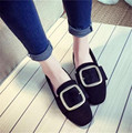 Vogue of new fund of 2016 autumn square shallow mouth metal belt buckle flat flat with suede comfortable women's shoes