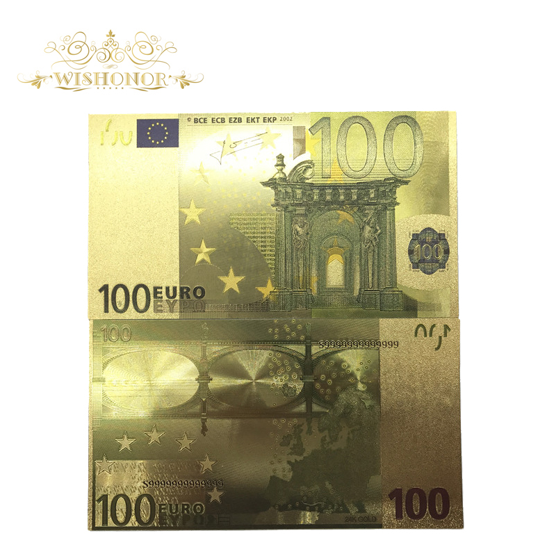 10pcs/lot Value Collectible Euro Banknotes Colorful 100 Banknote in Gold Plated For Home Decoration